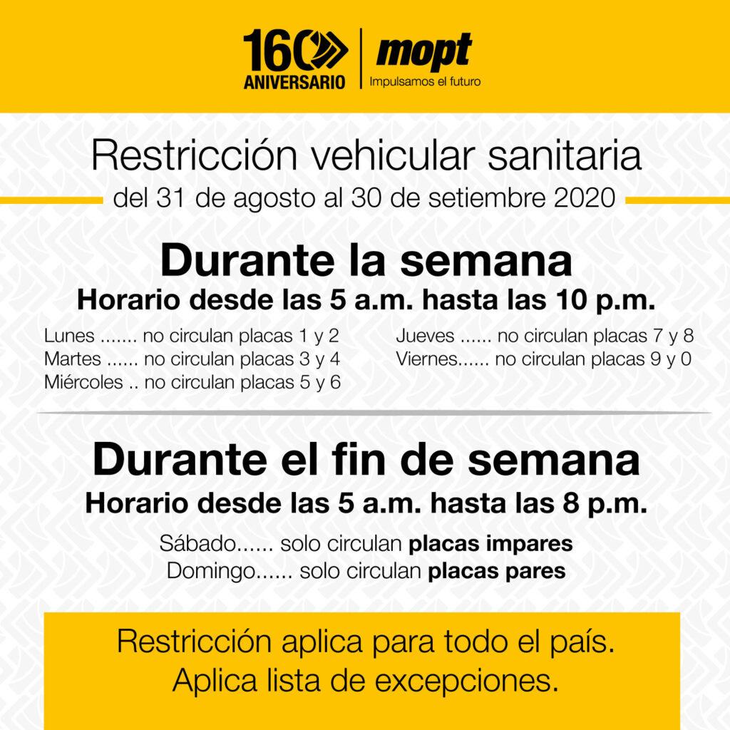 restriccion vehicular costa rica covid setiembre 2020